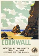 Cornwall, Penny a Mile. Vintage GWR Travel poster by Leonard Cusden. 1935